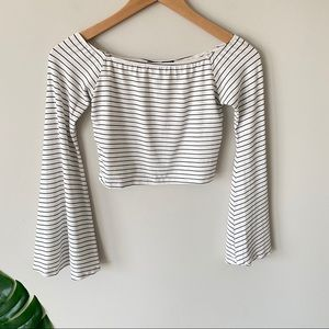 BOOHOO Off The Shoulder Crop Top Bell Sleeve White